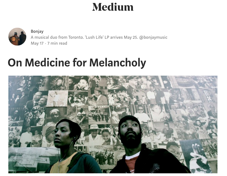 Link to On Medicine for Melancholy essay at Medium